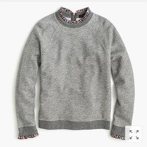 Jcrew Metallic Ruffle Neck Sweatshirt